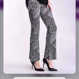 Abstract Arabesque Print Flare Pants